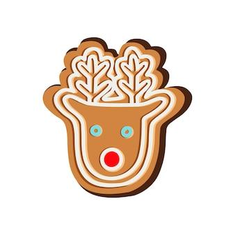 Рождественское имбирное печенье в векторе оленя