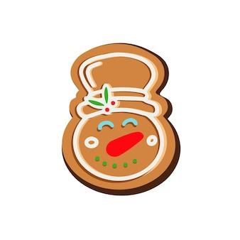 Рождественское имбирное печенье в снеговике векторные иллюстрации
