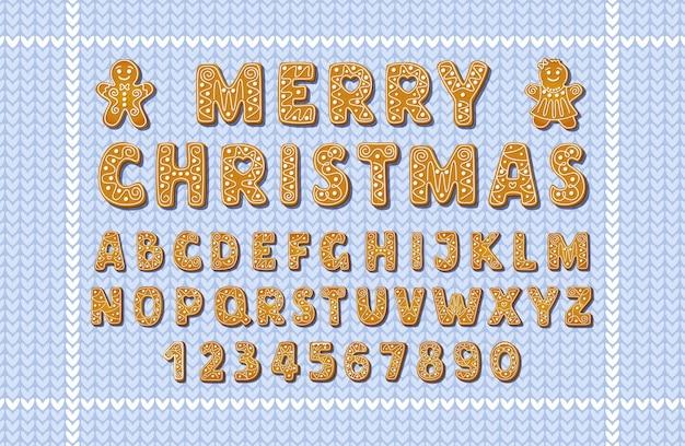 파란색 뜨개질 배경에 크리스마스 진저 알파벳 글꼴과 숫자. 진저 브레드 남자와 함께 영어 글자 모양의 겨울 착빙 설탕 쿠키. 만화 벡터 일러스트 레이 션.