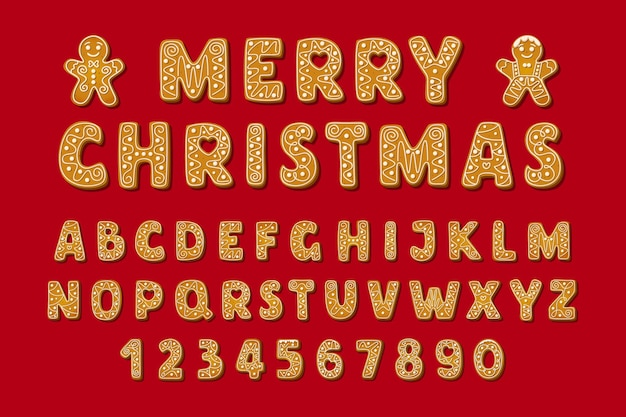 크리스마스 진저 브레드 알파벳 글꼴 및 숫자 겨울 유리 쿠키 모양의 영어 문자 wi...
