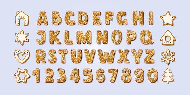Рождественские пряники алфавит шрифт и цифры зимнее печенье глазированные векторные иллюстрации