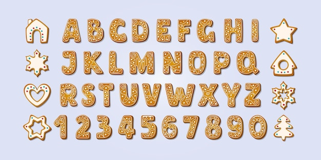 Christmas gingerbread alphabet font and numbers winter glazed cookies vector illustration