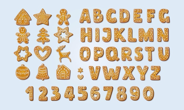 Christmas gingerbread alphabet font and numbers winter icingsugar cookies vector illustration