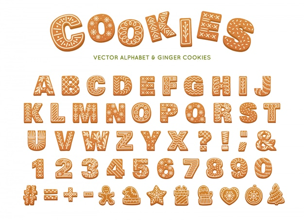 Christmas gingerbread alphabet. vector ginger cookies
