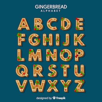 Christmas gingerbread cookie alphabet