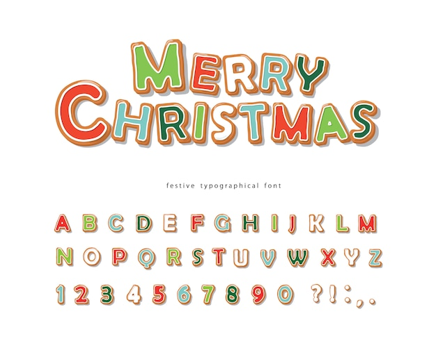 Christmas gingerbread cookie font with letters and numbers