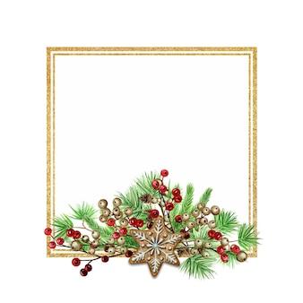クリスマスジンジャーブレッドクッキーフレーム。松の枝の境界線、水彩手描きイラスト