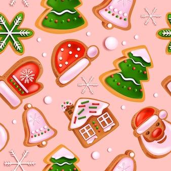 クリスマスジンジャーブレッドクッキーシームレスパターン休日冬のデザートテクスチャサンタクロースの帽子