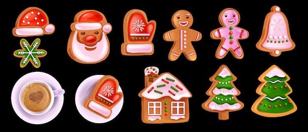 Рождественские пряники набор векторных xmas домашнее сладкое тесто санта-клауса лицо чашка кофе