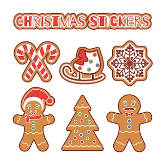クリスマスジンジャーブレッドクッキーステッカーセット。スノーフレーク、クリスマスツリー、白で隔離のキャンディケインと伝統的なカラフルなクッキー。スクラップブッキング、ステッカー、バッジの休日のグラフィックデザイン要素
