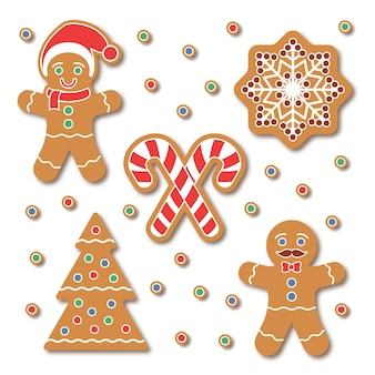 Рождественские пряники набор наклеек печенья. традиционное красочное печенье с хлопьями снега, рождественской елкой, конфетой, изолированной на белом. праздничные элементы графического дизайна для скрапбукинга, наклейки, значки