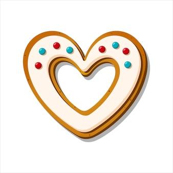 クリスマスジンジャーブレッドクッキー冬釉薬のハートの形で甘いベクトルイラスト