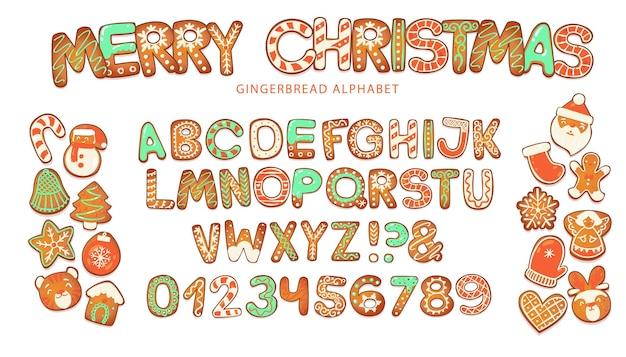 크리스마스 진저 쿠키 알파벳 비스킷 문자와 크리스마스 문자