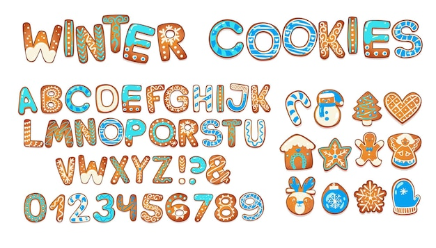 Christmas gingerbread cookies alphabet biscuit letters and characters for xmas