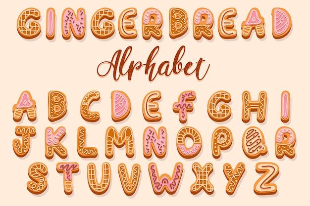 クリーム色と釉薬の文字で飾られたクリスマスジンジャーブレッドクッキーのアルファベット