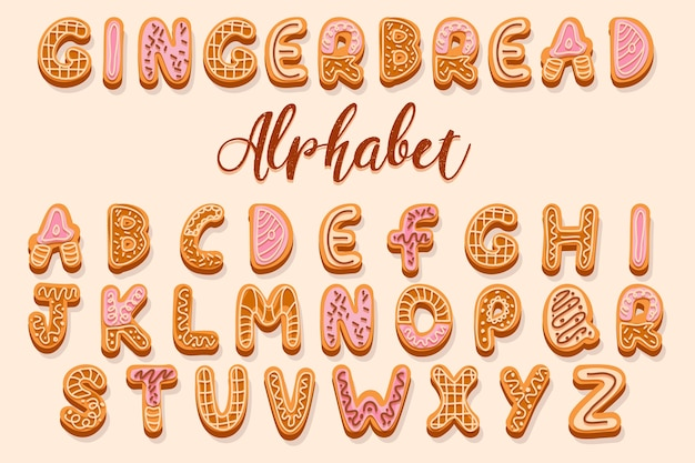 Christmas gingerbread cookies alphabet decorated with cream and glaze letters