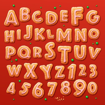 Christmas gingerbread cookies alphabet and numbers vector illustration
