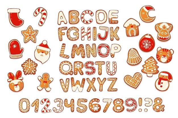 Рождественские пряники алфавит с цифрами бисквитные буквы и символы на рождество