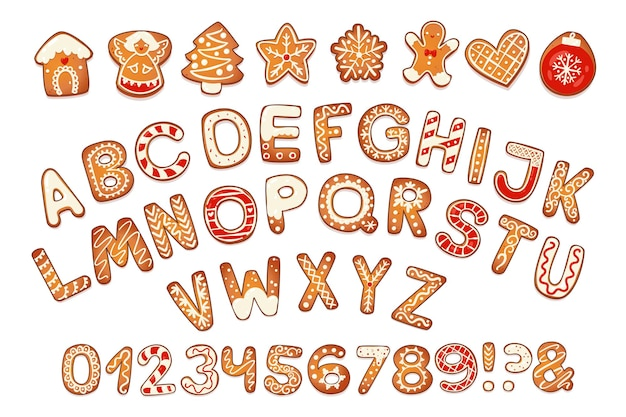 Christmas gingerbread cookies alphabet with figures biscuit letters and characters for xmas