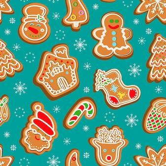 눈송이 원활한 패턴 속 크리스마스 진저 쿠키
