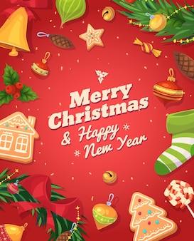 クリスマスジンジャーブレッドクッキーとお菓子。クリスマスグリーティングカードの背景ポスター。