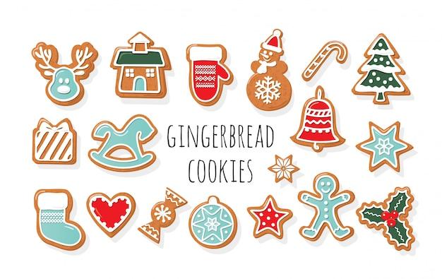 Christmas gingerbread cookies big set.