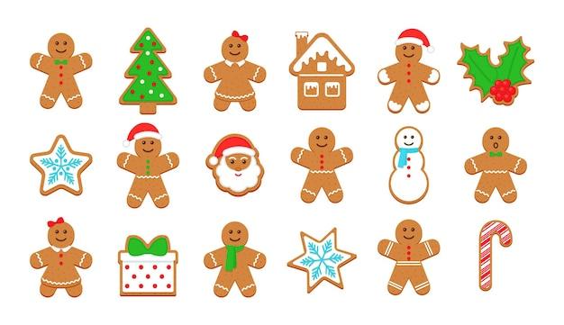Рождественские пряники. классический рождественский бисквит. ноэль праздник сладкий десерт, изолированные на белом фоне. симпатичные имбирные человечки, дерево, санта, холли, снеговик и подарочная коробка. векторная иллюстрация.