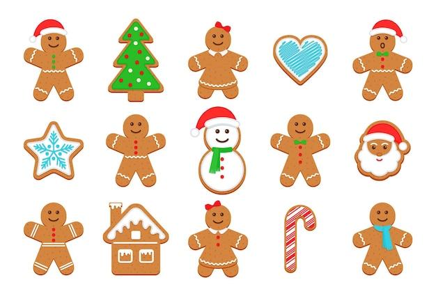 Рождественские пряники. классический рождественский бисквит. ноэль праздник сладкий десерт вектор