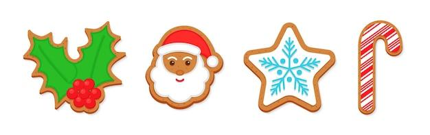 크리스마스 진저브레드 쿠키. 클래식 크리스마스 비스킷. 귀여운 생강 빵, 산타, 홀리, 사탕 지팡이, 눈송이