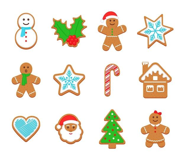 크리스마스 진저브레드 쿠키. 귀여운 크리스마스 설탕을 입힌 과자. 벡터 일러스트 레이 션.