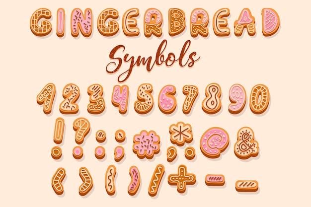 クリーム色と釉薬の番号と記号で飾られたクリスマスジンジャーブレッドクッキー