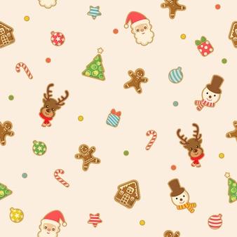 シームレスなパターンにクリスマスジンジャーブレッドクッキーのデザイン