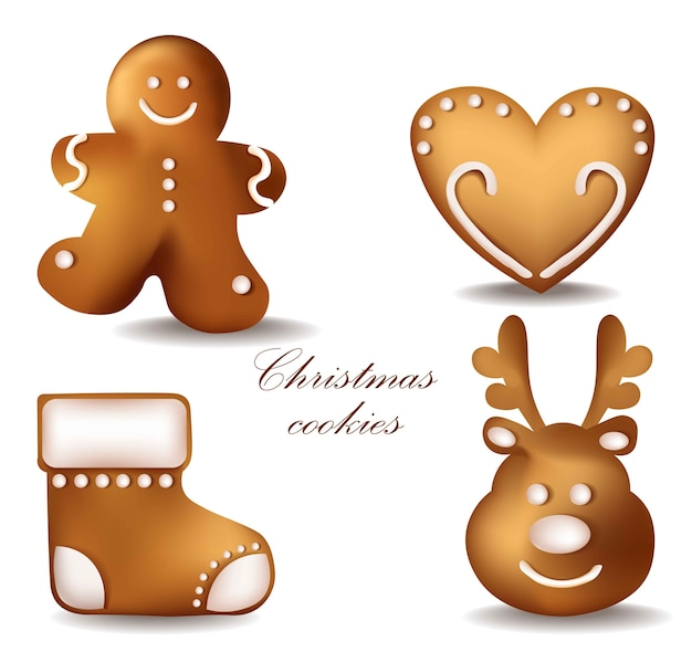 Christmas gingerbread cookies. detailed decors