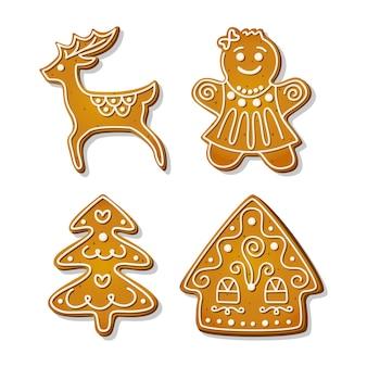 크리스마스 진저브레드 쿠키. 집 모양의 축제 비스킷과 진저브레드 여자, 크리스마스 트리, 순록 모양. 만화 벡터 일러스트 레이 션.