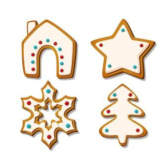 크리스마스 진저브레드 쿠키. 집과 나무, 별, 눈송이 모양의 축제용 유약 비스킷. 만화 벡터 일러스트 레이 션.