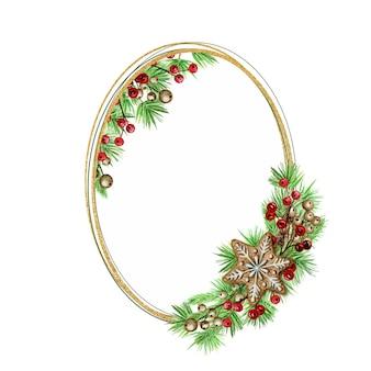クリスマスジンジャーブレッドクッキーゴールドリース。白い背景の上の松の枝の楕円形のフレーム、テキストのコピースペースと新年の水彩手描きイラスト。