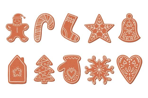 白い背景で隔離のフラットスタイルのクリスマスジンジャーブレッドクッキー。ジンジャーブレッドクッキーのイラスト。