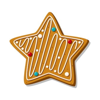 흰색 배경에 격리된 장식이 있는 별 모양의 크리스마스 진저 쿠키. 축제 수제 쿠키. 벡터 일러스트 레이 션.
