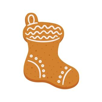 선물용 스타킹 모양의 크리스마스 진저 쿠키