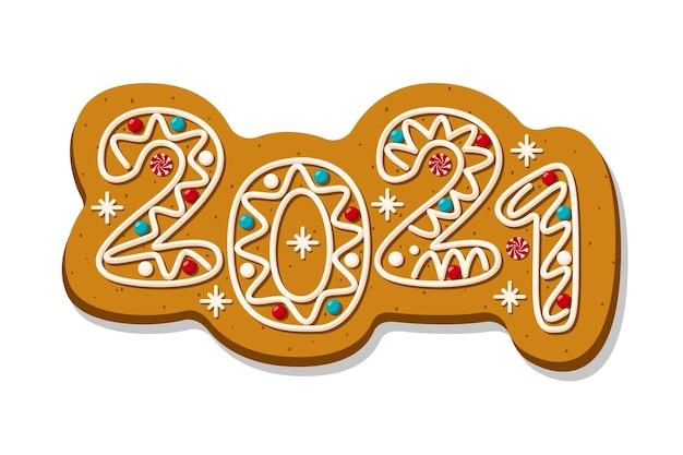 숫자 2021 모양의 크리스마스 진저 쿠키입니다. 새해 복 많이 받으세요. 벡터 일러스트 레이 션.