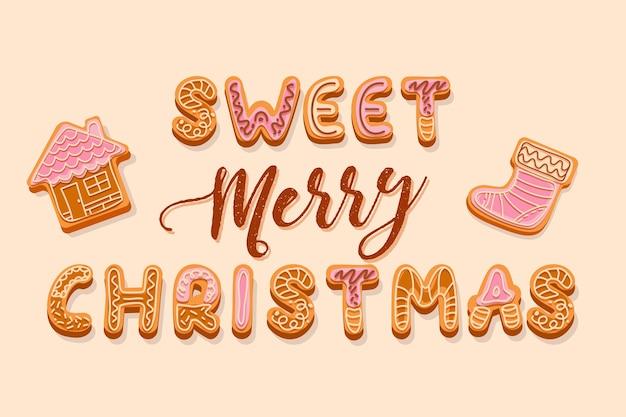 クリーム色と釉薬の文字で飾られたクリスマスジンジャーブレッドクッキーのレタリング甘いメリークリスマスの挨拶