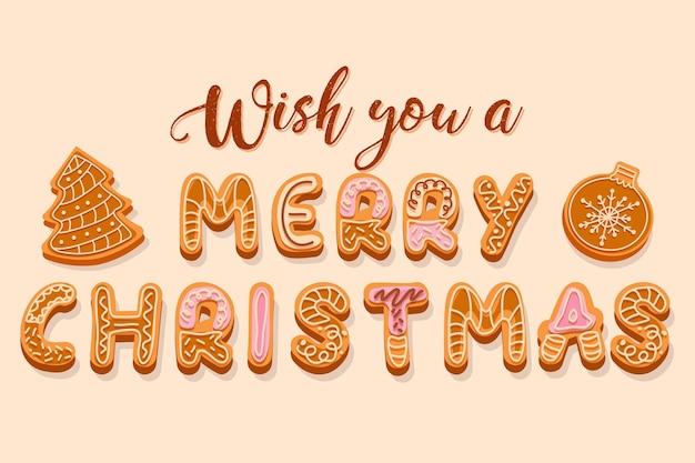 クリーム色と釉薬の文字で飾られたクリスマスジンジャーブレッドクッキーのレタリングメリークリスマスの挨拶をお願いします