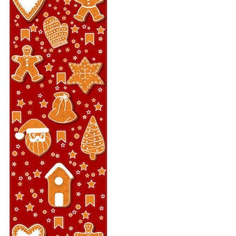 Christmas gingerbread cookies making a rectangular frame. vector illustration.happy winter holidays poster. new year. christmas holiday banner