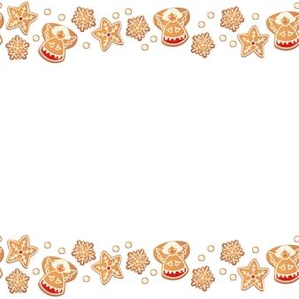 Рождественские пряники бесшовные границы изолированы. новогодняя декоративная гирлянда. мультяшный рисованной векторные иллюстрации