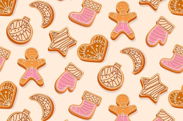 クリスマスのおもちゃのクリーム色と釉薬の図で飾られたクリスマスジンジャーブレッドクッキーシームレスパターン