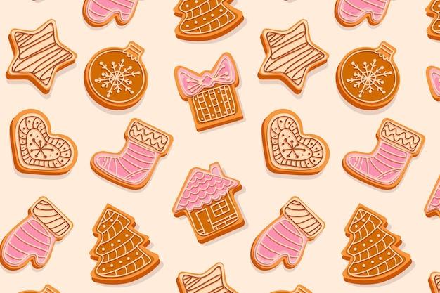 クリスマスツリーのおもちゃのクリーム色と釉薬の図で飾られたクリスマスジンジャーブレッドクッキーシームレスパターン