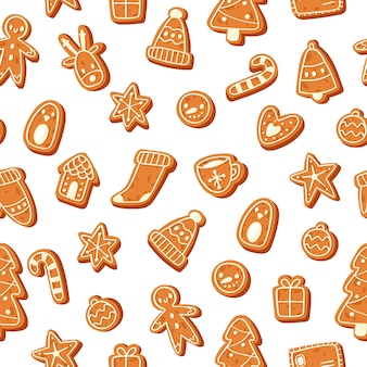 Christmas gingerbread cookies seamless pattern