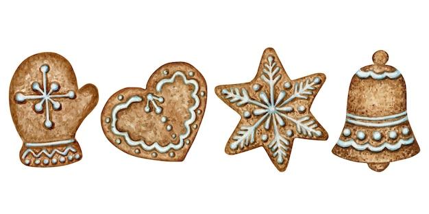 크리스마스 진저 쿠키 세트, 딱지 심장 벨 겨울 휴가 달콤한 음식. 수채화 그림 흰색 배경에 고립입니다. 크리스마스 선물 및 트리 장식.