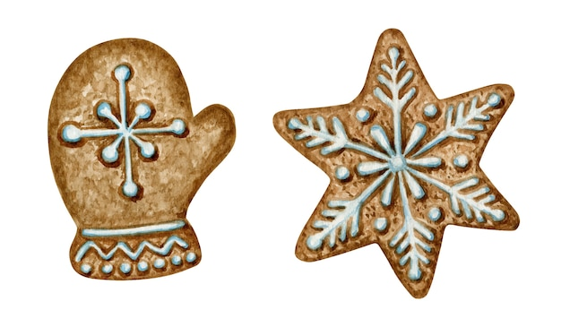 Christmas gingerbread cookies set, mitten snowflake star, winter holiday sweet food. watercolor illustration. xmas