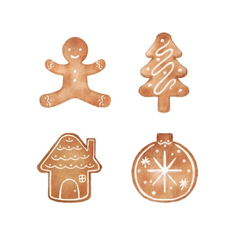 Christmas gingerbread cookies in watercolor style